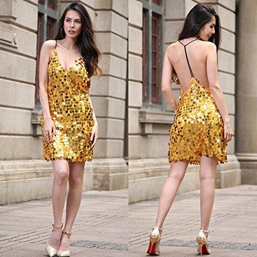 fiesta mujer FOLOBE lentejuelas noche la Golden de de vestido de vestido RqpwnOzqx