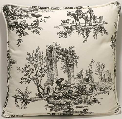 a-set-of-2-18-french-country-toile-thomasville-bouvier-black-and-cream-fabric-designer-throw-pillows