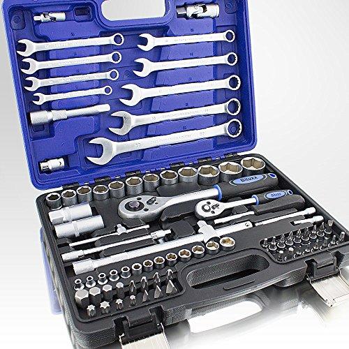 82 Teiliges Werkzeugkoffer Knarrenkasten Werkzeugset Werkzeugkasten Ratschenkasten Maulschlüssel Bit Stecknuss Kardangelenk Schraubenschlüssel Werkzeug Set