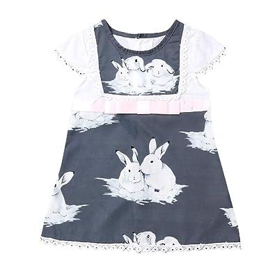 406509bb9e8e Amazon.com  Toddler Baby Girls 2019 Easter Dress Cuekondy Cute Rabbit Print  Short Sleeve Lace Dress Infant Kids Summer Clothes  Clothing