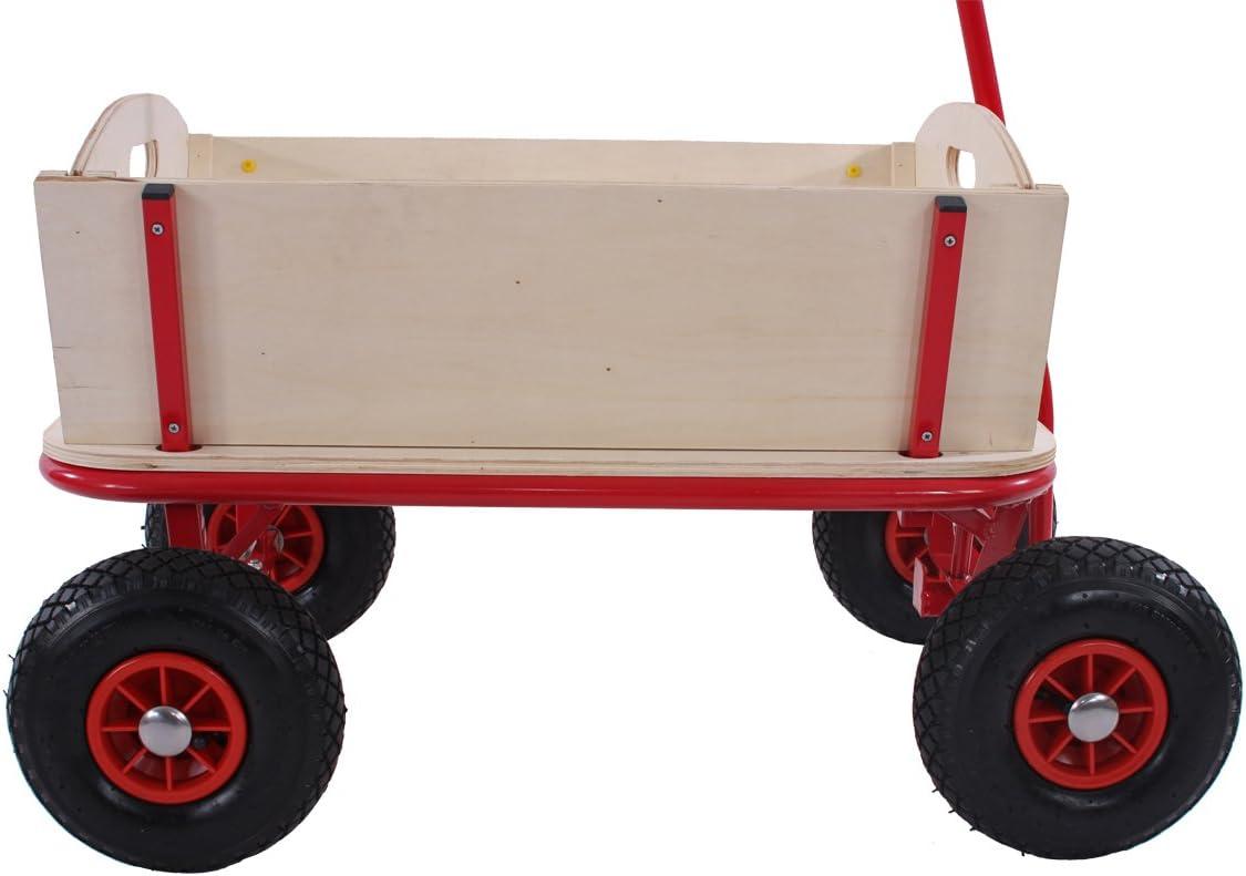 Carriola carretto legno per bambini marca Oliveira 92x61cm con seduta e freno