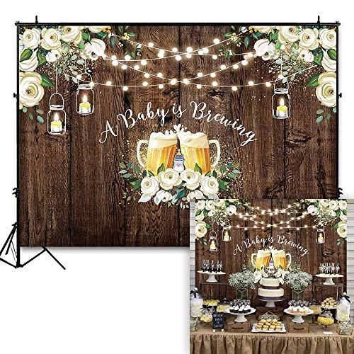Funnytree 7x5ft Rustic Wood Flowers Baby Shower Backdrop Baby is Brewing Party Background for Photography Boy Girl Floral Photo Booth Cake Table Decorations Banner