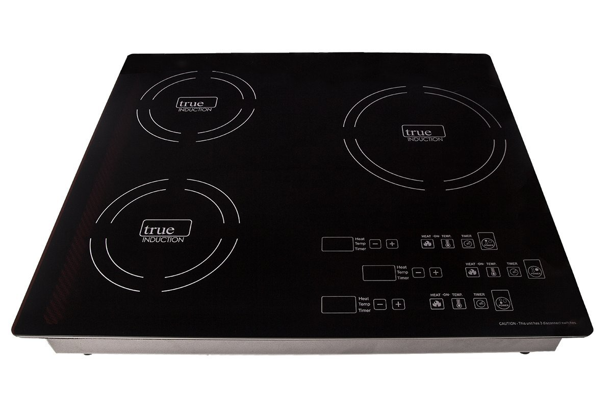 True Induction TI-3B  Energy Efficient Induction Cooktop, Three Burner Counter Inset, Black