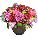 [エルフルール] 生花 カラーが選べる店長おまかせアレンジメント フラワーギフト 生花 誕生日祝い 結婚記念日 結婚祝い お祝い プレゼント ギフト (レッド系)