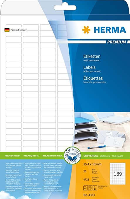 4725 Etiketten A4 Bogen 25 x 10 mm Papier blau ablösbar 25 Blatt