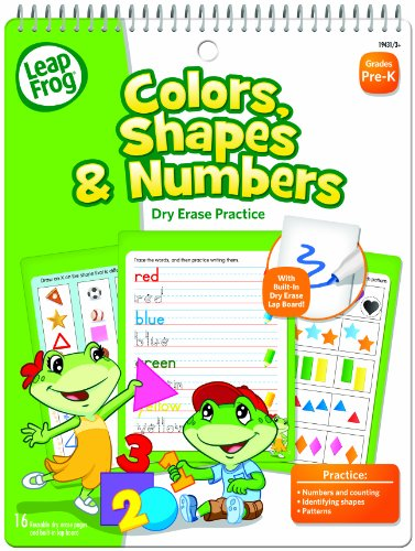 LeapFrog Colors, Shapes and Numbers Dry Erase Practice Workbook for Pre-K with 16 Flexible Pages (19431)