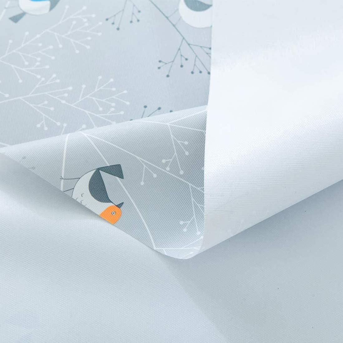 200cm Table Cloth Rectangular PVC Plastic Vinyl Waterproof Wipe Clean Birds Grey 137