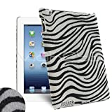 Femeto Black & White Zebra Sytle Faux Fur Back Cover Case for Apple iPad 4 / iPad 3 / iPad 2