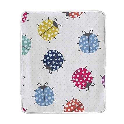 Amazon.com  U LIFE Polka Dots Cute Beetles Insects Throw Blanket ... bb2f2abe70