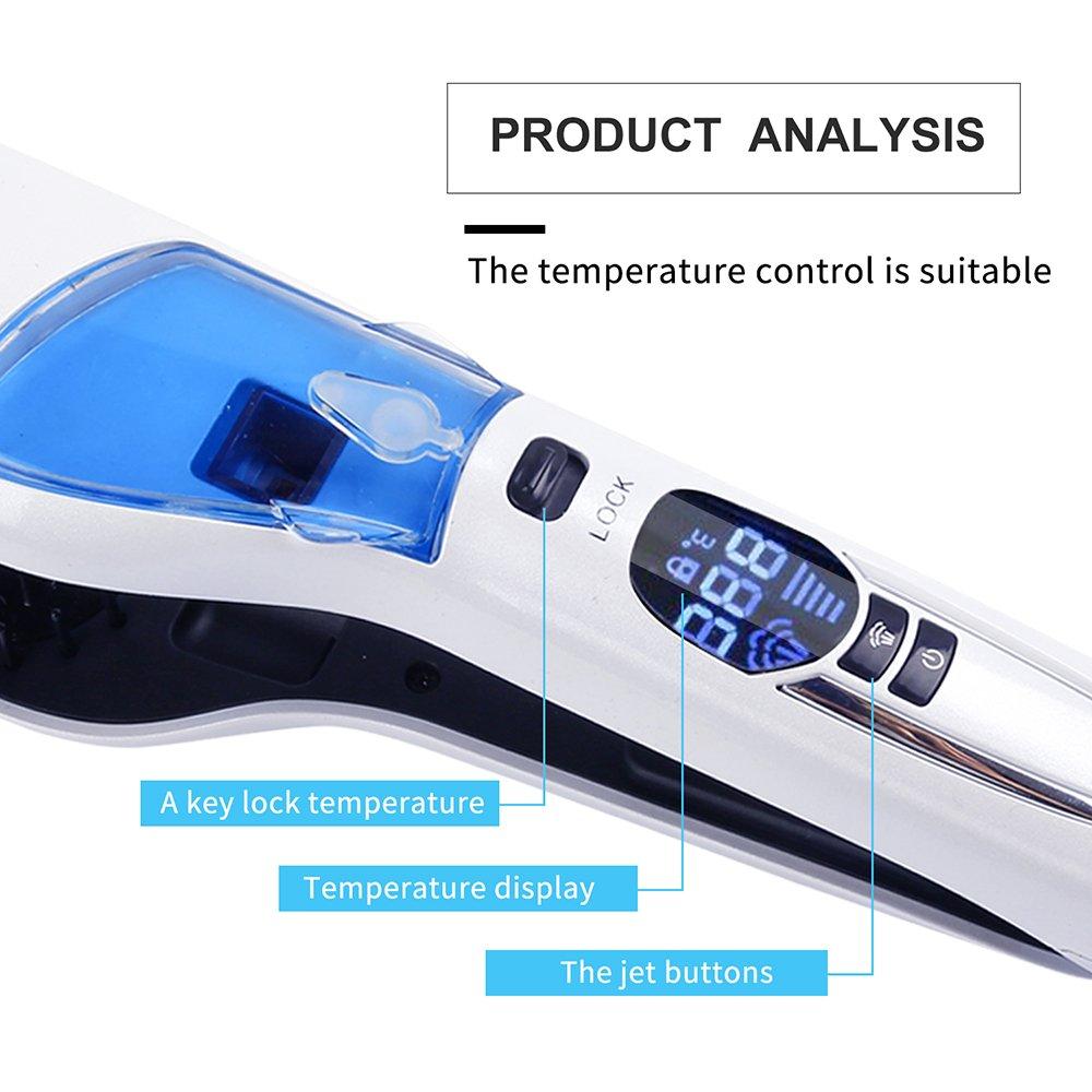 Cepillo alisador de pelo de vapor profesional spray alisador de pelo rápido eléctrico cepillo suave cerámica alisador de pelo peine de vapor plancha con LCD ...