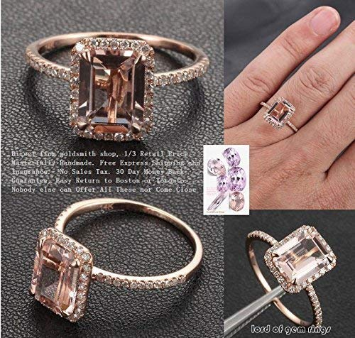 (Emerald Cut Morganite Engagement Ring Pave Diamond Halo 14K Rose Gold 6x8mm)