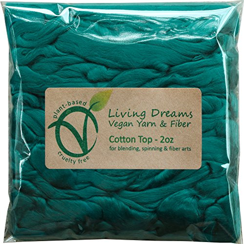 Cotton Fiber for Spinning, Blending, Felting & Fiber Arts. Soft Vegan Combed Top. Spruce by Living Dreams Yarn