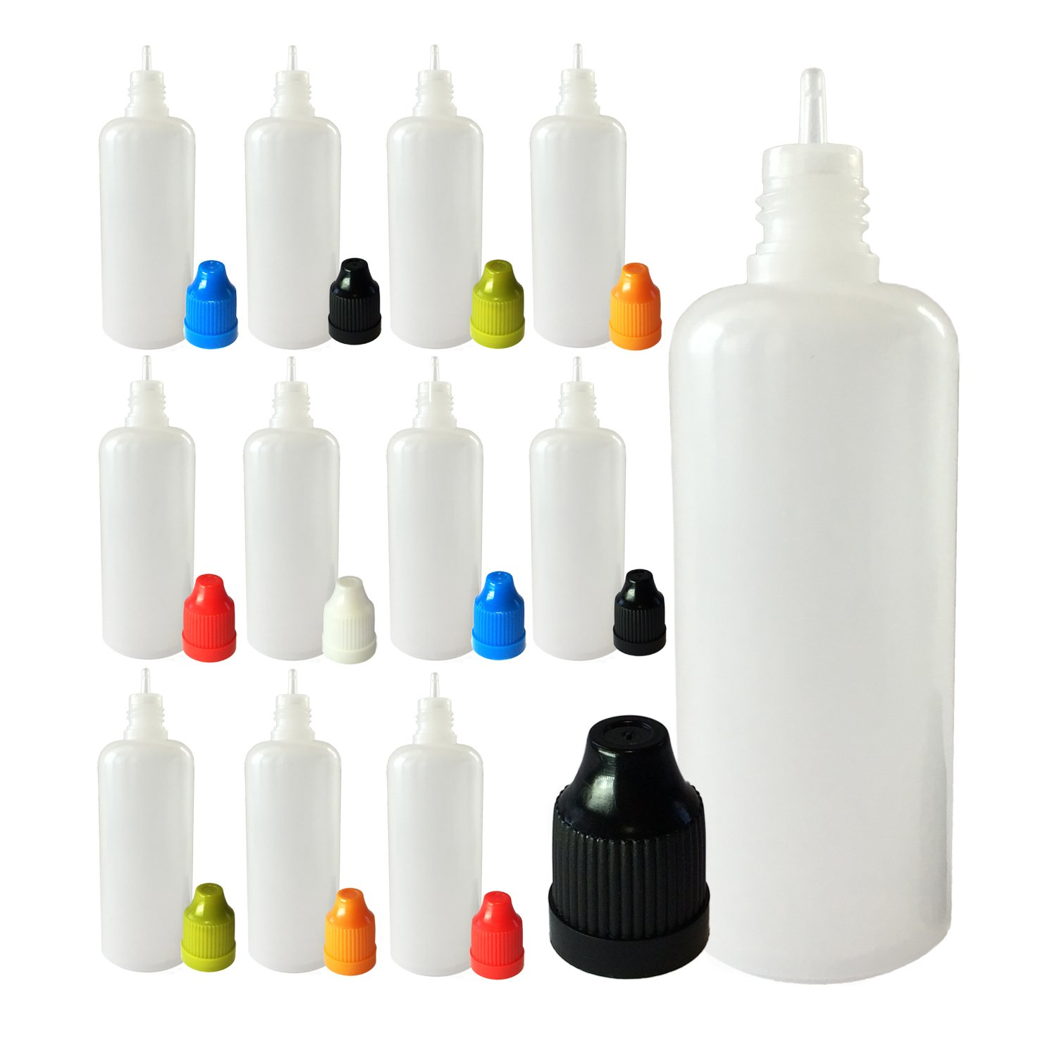510 Central 60mL LDPE Plastic Thin Tip Dropper Bottles (12 Pack, Multi Color Caps)