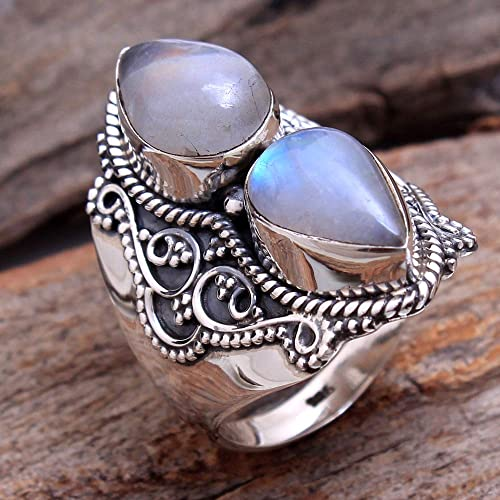 Rainbow Moonstone solid 925 Sterling silver Gemstone New Design Ring S US 8.5