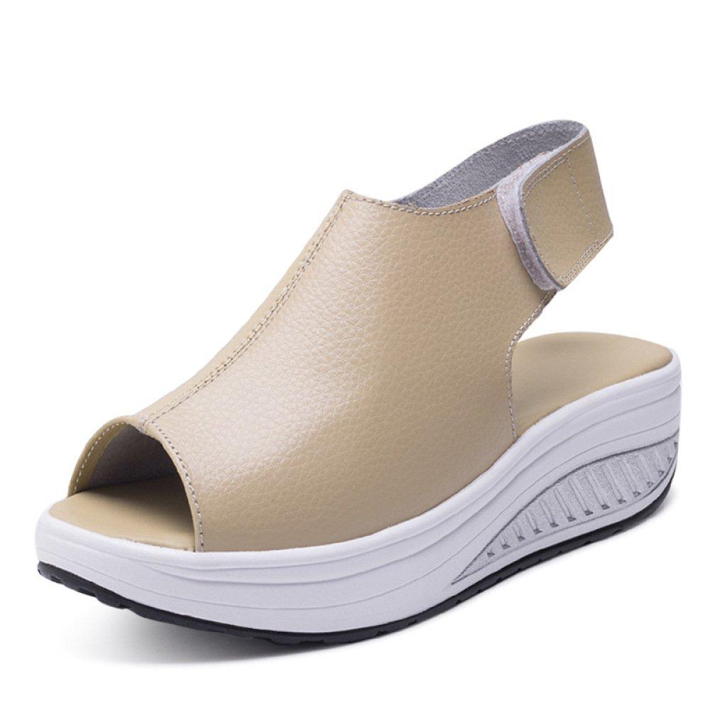 Ximu Sommer Sandalen Weibliche Keilabsatz Fisch Mund Dicken Boden angehoben Sandalen Schuhe 5cm  35 EU|Beige
