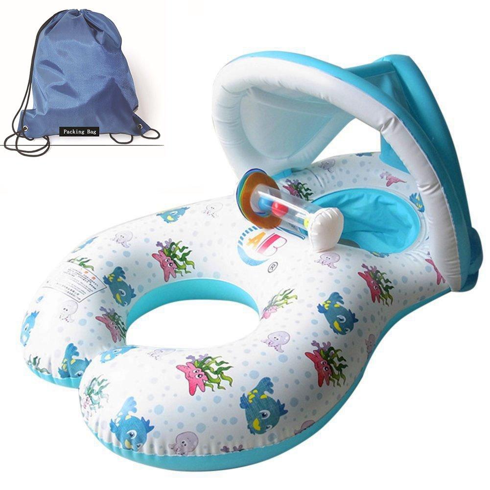 Jct gonfiabili galleggianti Dual persona mamma e bambino, gonfiabile piscina a scomparsa rimovibile galleggiante anello di nuoto per bambini sedile galleggiante anello di sicurezza del bambino galleggiante piscina giocattolo con tettuccio parasole, White J