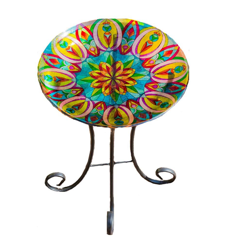 Topadorn Bird Bath Bowl Garden Décor Glass Plate Birdbath with Metal Stand,Kaleidoscopic