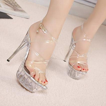 Sandalias transparentes de tacón muy alto para mujer - Zapatos con hebilla  cruzada transparente Modelo 4cm 563d49da38ba