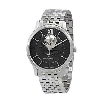 72f66804b Amazon.com: Tissot Men's Tradition Powermatic 80 Open Heart -  T0639071105800 Black/Grey One Size: Watches