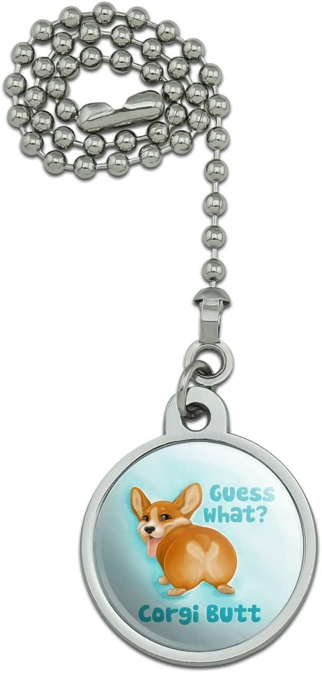 GRAPHICS & MORE Guess What Corgi Butt Funny Joke Ceiling Fan and Light Pull Chain