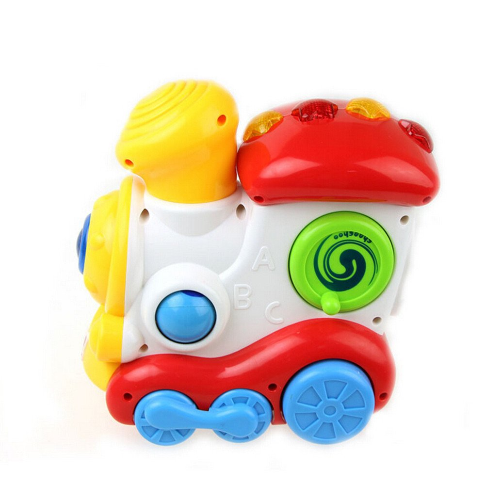 OVERMAL Toy Cute Parent-child Interaction Happy Locomotive Electric Light Music Toy
