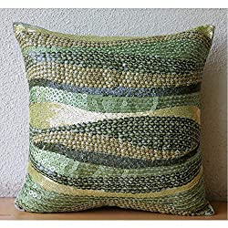Green Decorative Zippered Silk Throw Pillow Covers