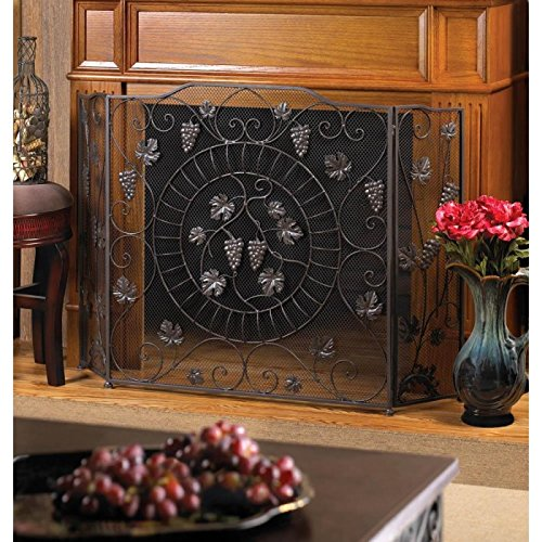 Grapevine Vineyard Fireplace Screen ~ 3 Connecting Panels ~ Iron with Metal Mesh by 25 Home Decor