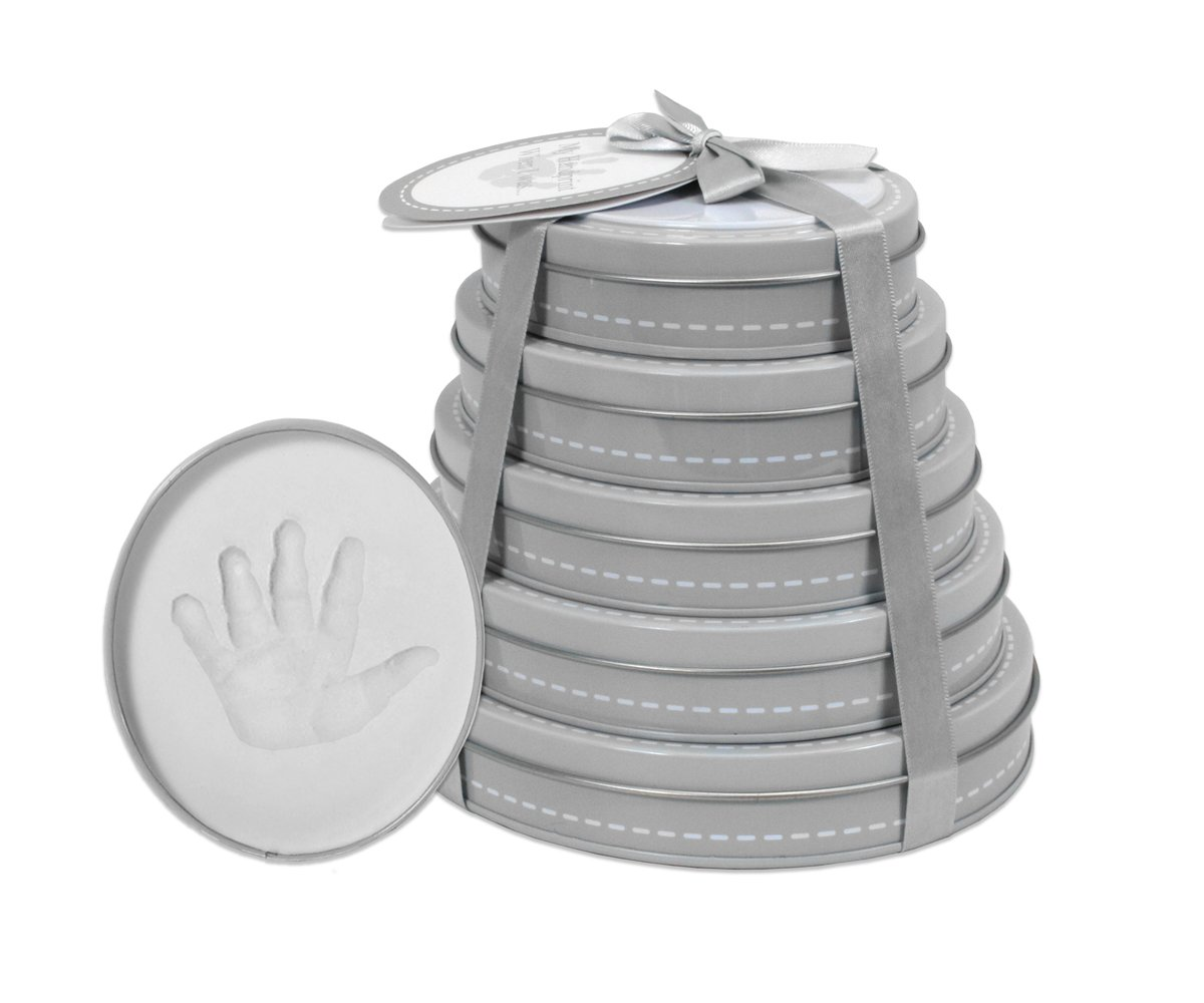 Child to Cherish Handprint Tower of Time Oval Grey