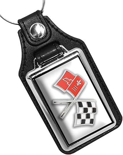 CHEVROLET CORVETTE RACING FLAGS WINGS LOGO KEYCHAIN KEYRING NEW RED