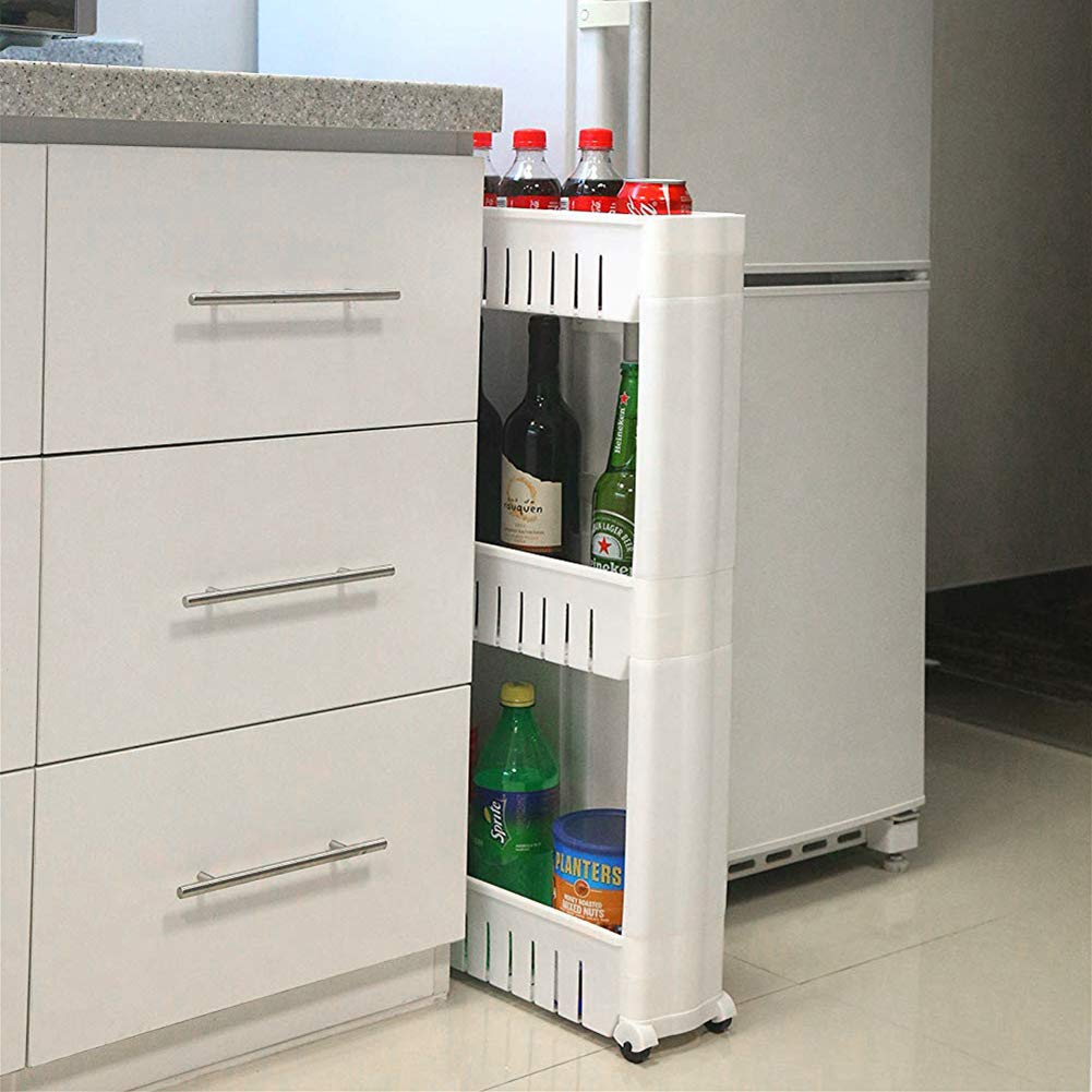 Kitchen Storage Rack with Wheels Bedroom Storage Shelving Trolley 3 Tiers Slide Out Removable Bathroom Storage Shelf Easy to Assemble by Hengory (Image #3)