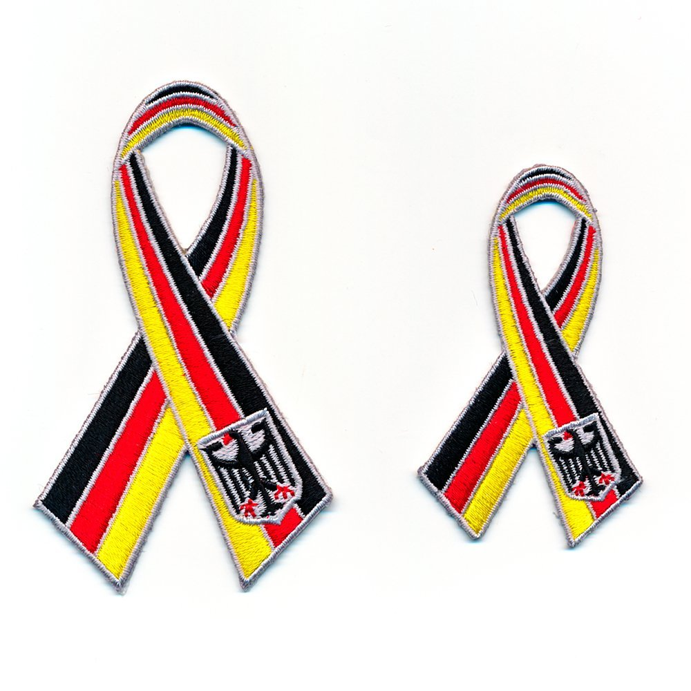 2 Deutschland Schleifen Ribbon Loop Germany Patches Aufn/äher Aufb/ügler Set 0913