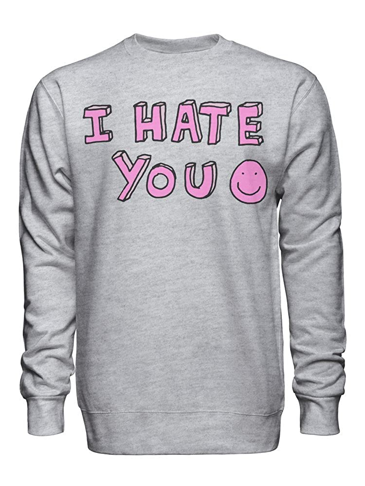 graphke I Hate You Ironic Pink Smile Unisex Crew Neck Sweatshirt
