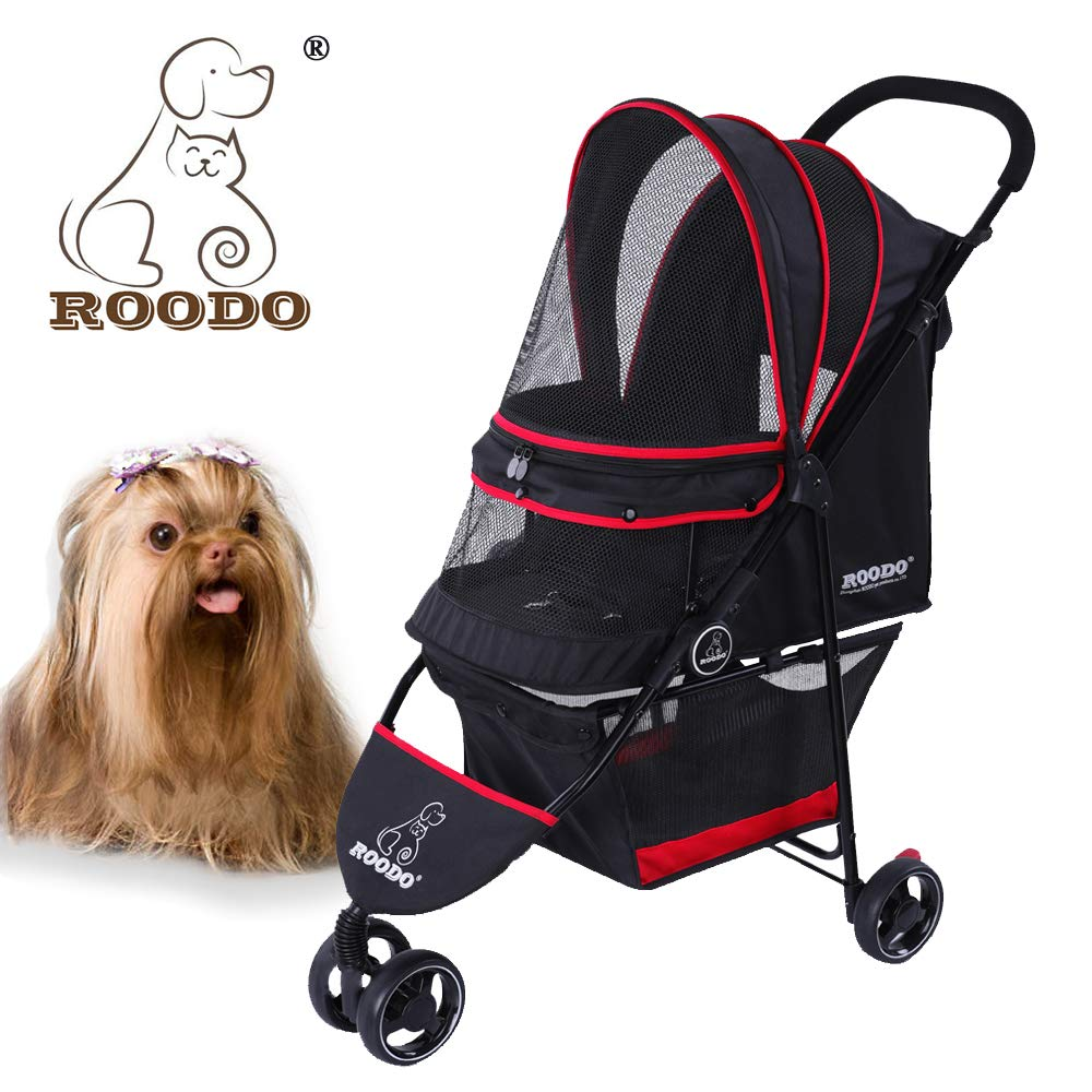 Black + red Complete Black + red Complete ROODO Escort 3 Wheel Pet Stroller for Cats Dogs,Lightweight, Compact, Portable, Practical, Removable,Support 30 Pound Animals(Special Edition)