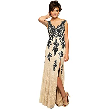 8d3a85240f9 JVN by Jovani Womens Lace Applique Formal Dress Beige 0 at Amazon Women's  Clothing store: