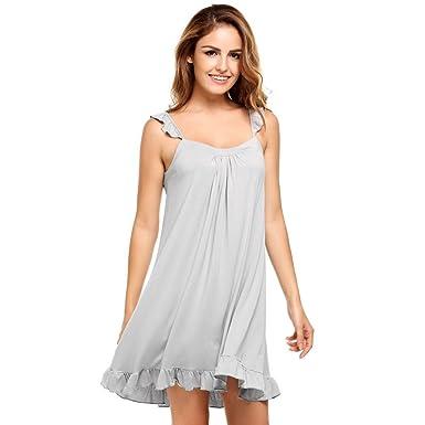 83fb613b25 Womens Sleeveless Pajamas Solid Ruffles Square Neck Nightgown Sleepwear  Loose Dress8 at Amazon Women's Clothing store: