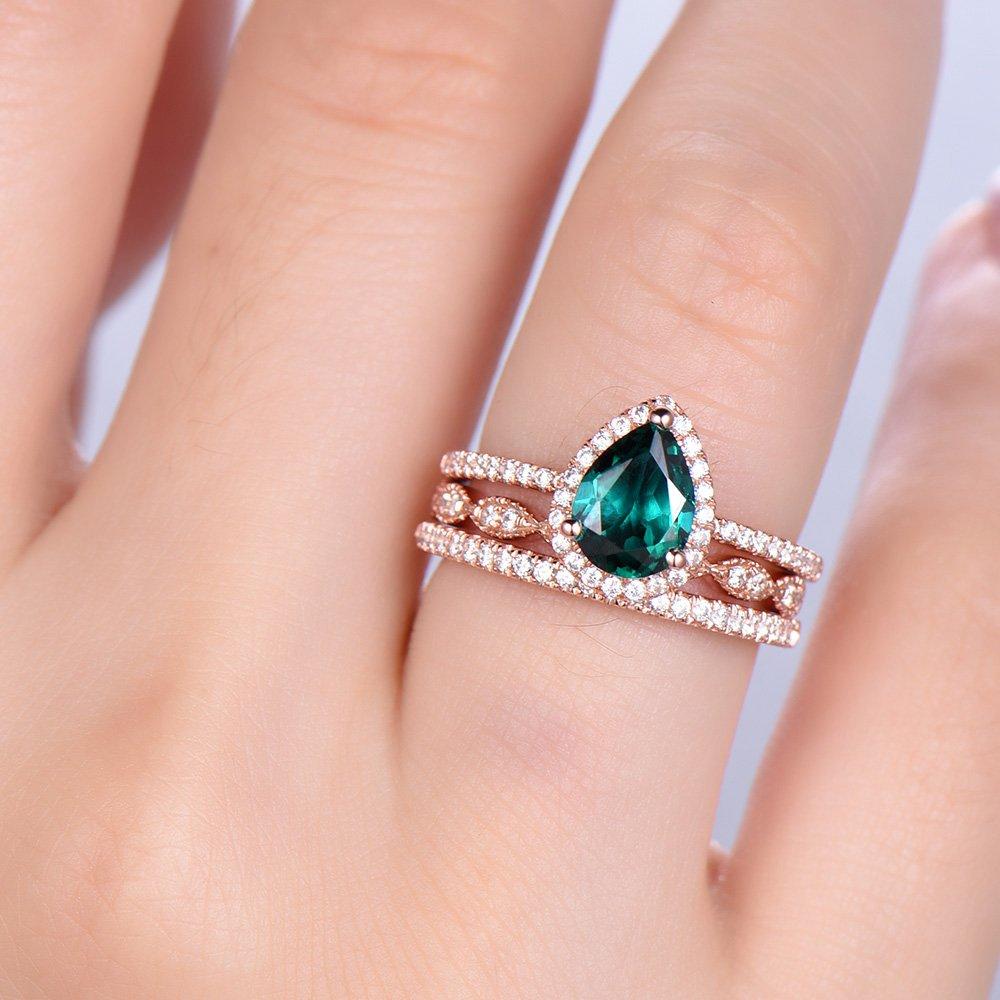 Amazon.com: Emerald Wedding Ring Set 6x8mm Pear Cut Emerald ...