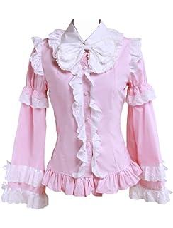 cb9e93f77c26f7 Antaina Rosa Baumwolle Rüsche Spitze Querbinder Jahrgang Viktorianisch Lolita  Hemd Bluse,MEHRWEG