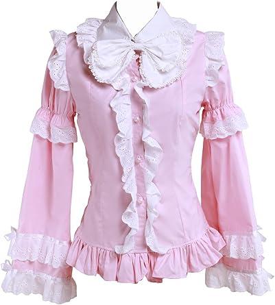 an*tai*na* Rosa Algodón Volantes Encaje Bows Vintage Victoriana Lolita Camisa Blusa de Mujer