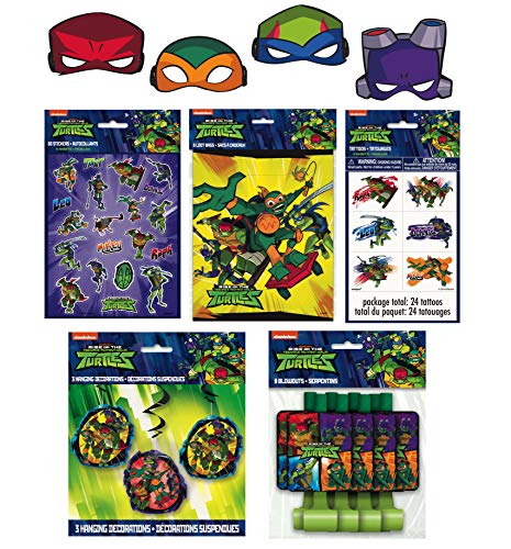 Unique Rise of The Teenage Mutant Ninja Turtle Birthday Party Favors Bundle - Officially Licensed Face Masks, Blowouts, Loot Bags, Stickers, Tattoos & Hanging Swirls]()