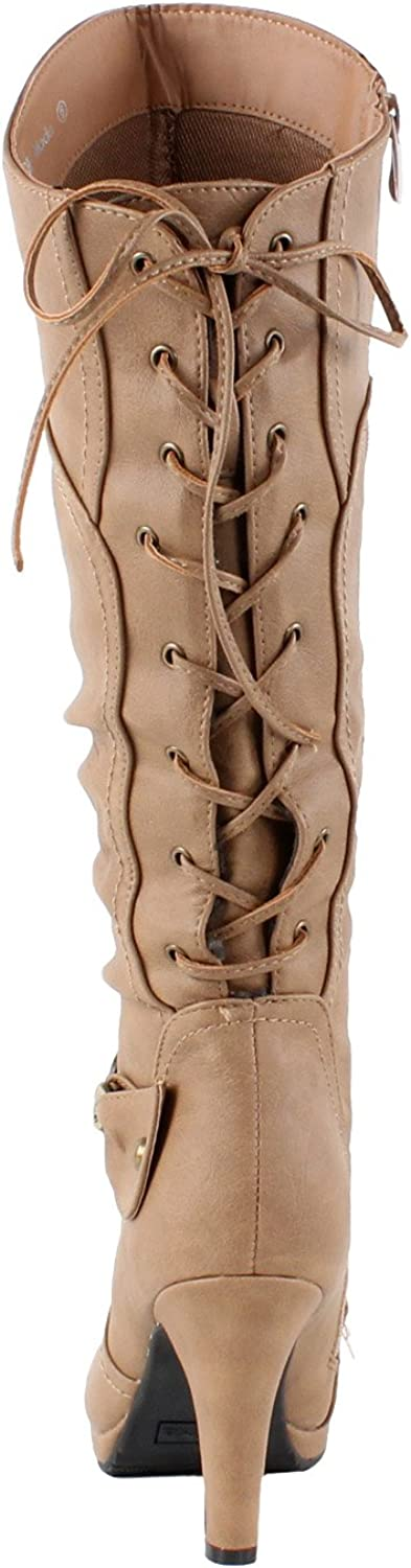 TOP Moda Womens Knee Lace-up High Heel Boots