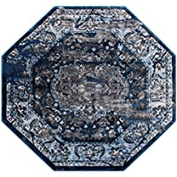 Masada Rugs Oriental Vintage Distressed Area Rug Rafael Collection (4 Feet X 4 Feet Octagon)