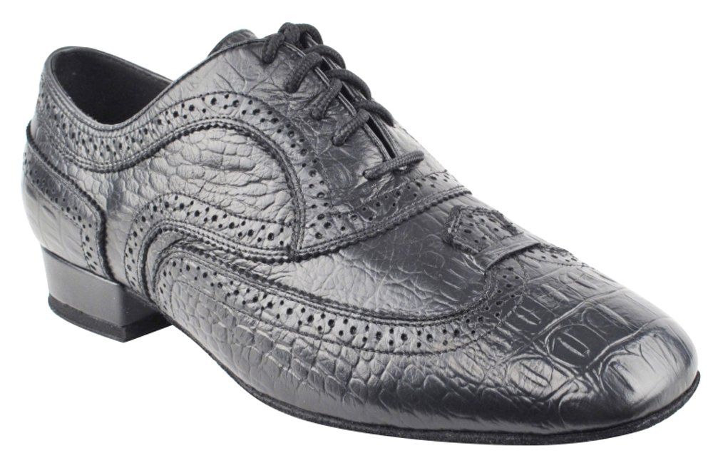 Very Fine Shoes Men's Stadard & Smooth Competitive Dancer Series CD9002A Black Croc Embossed Leather (12.5)