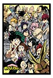 My Hero Academia School Compilation Poster Magnetic Notice Board Black Framed - 96.5 x 66 cms (Approx 38 x 26 inches)