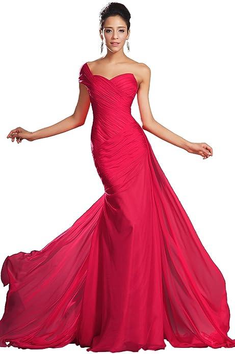 eDressit Nuevo Maravilloso Rojo Solo Hombro Vestido de Fiesta Largo (00132102) Talla 46(