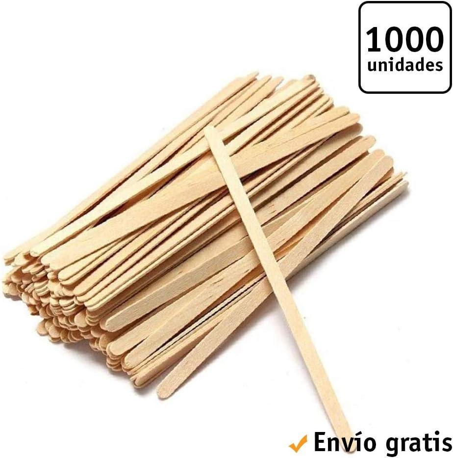 TELEVASO - 1000 uds - Palitos agitadores para café de Madera - Tamaño de 14 cm - Varillas de agitación Desechables y reciclables - Ideal para Bebidas Calientes como café, té, Leche, infusiones