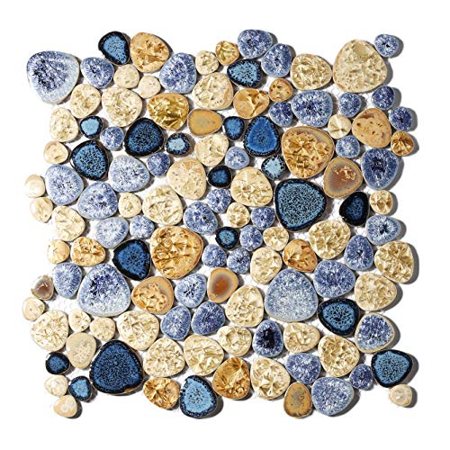 Glazed Blue Mosaic Ceramic Pebble Porcelain Tile Swimming Pool Bath Shower Wall Flooring Tile TSTGPT001 (10 Square Feet)