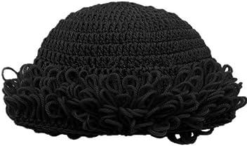 0a2b3947deb BIBITIME Grandma Knitted Beanie Hat Handmade Curly Hairstyle Winter Warmer  Cap