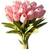 Mandy's 20pcs Pink Artificial Latex Tulips for Party Home Wedding Decoration