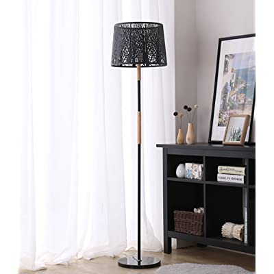 Lampadaire simple moderne vertical solide bois lampadaire salon ...