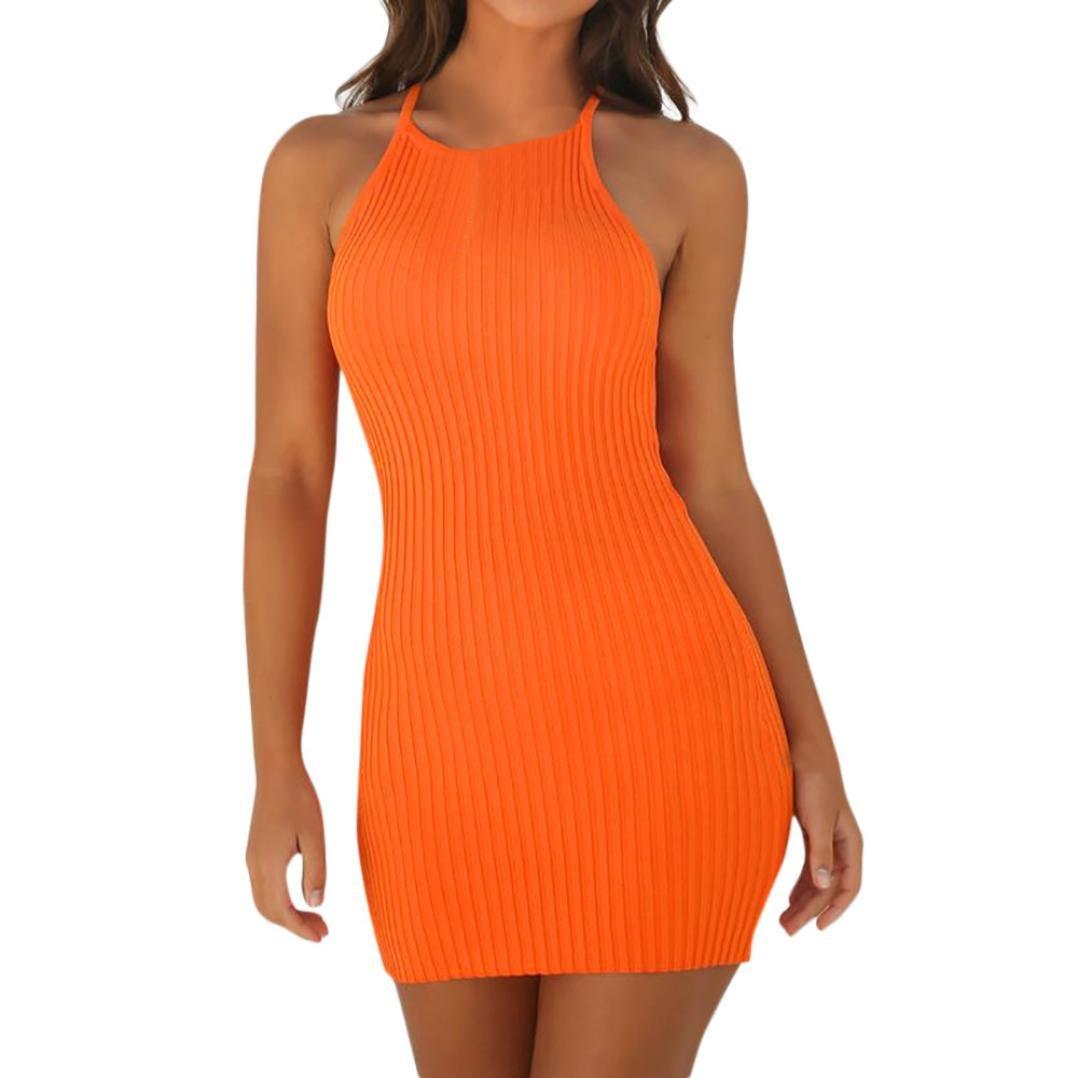 Tloowy Mini Dress, Women Sexy Halter Neck Sleeveless Short Bodycon Dress Summer Party Club Dress Solid Color (Orange, S)